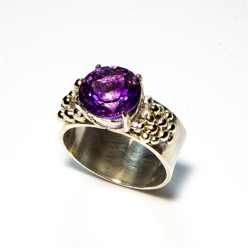 """Sterling silver """"grapes"""" ring with 10mm amethyst, size Q"""