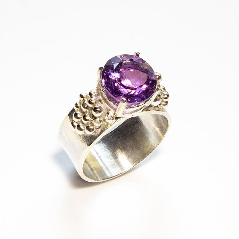 "Sterling silver ""grapes"" ring with amethyst, £120, size Q"