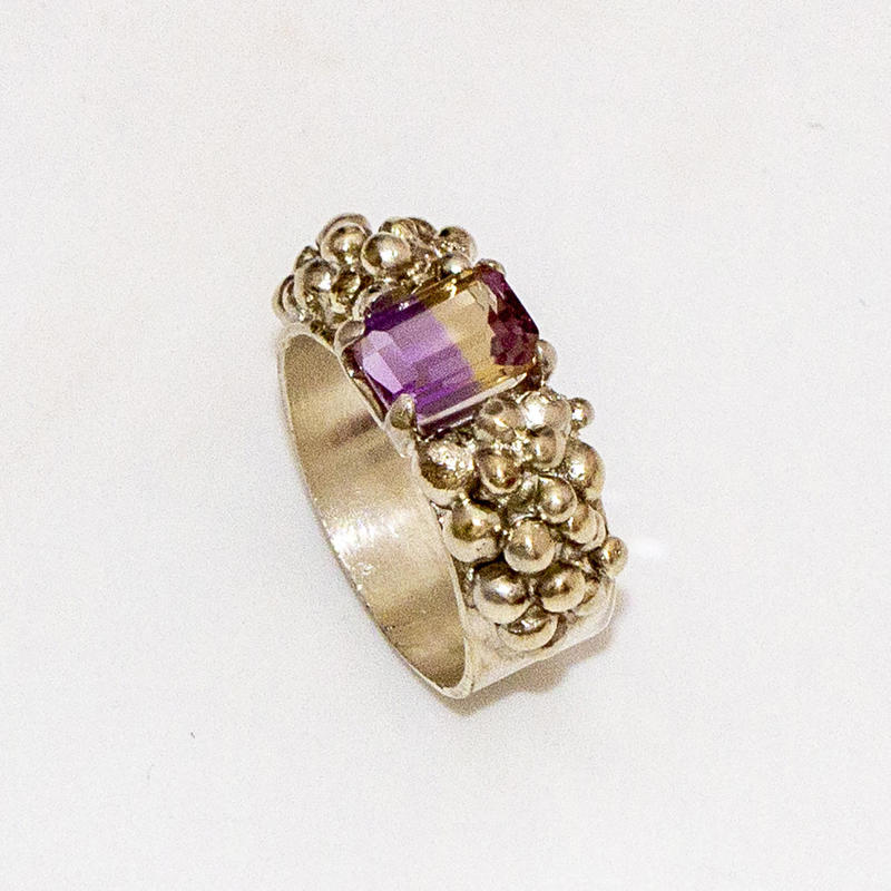 "Sterling silver ""grapes"" ring with ametrine, £120, size M"