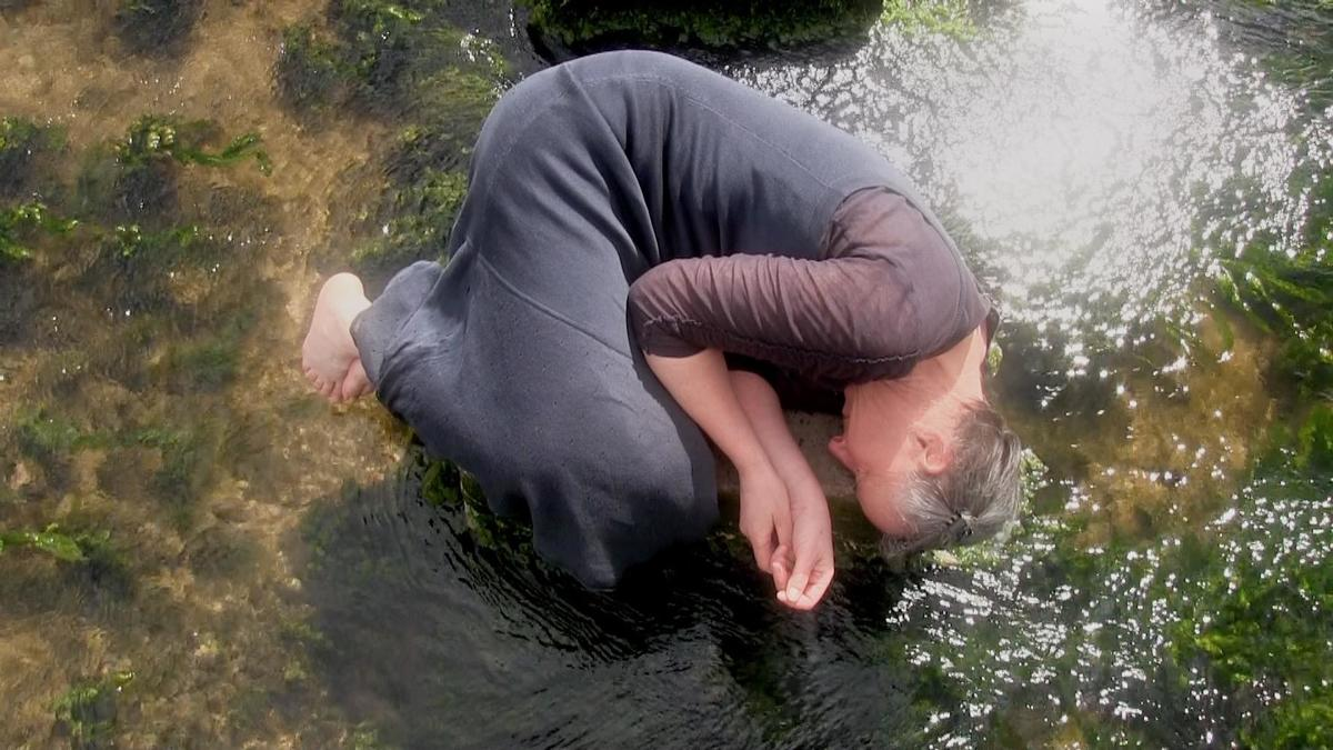 Continuum (2018) a film shown at Liquidscapes, Dartington, at Art and Earth Conference concerning water.  Performance and text, filmed by Vicky Vergou