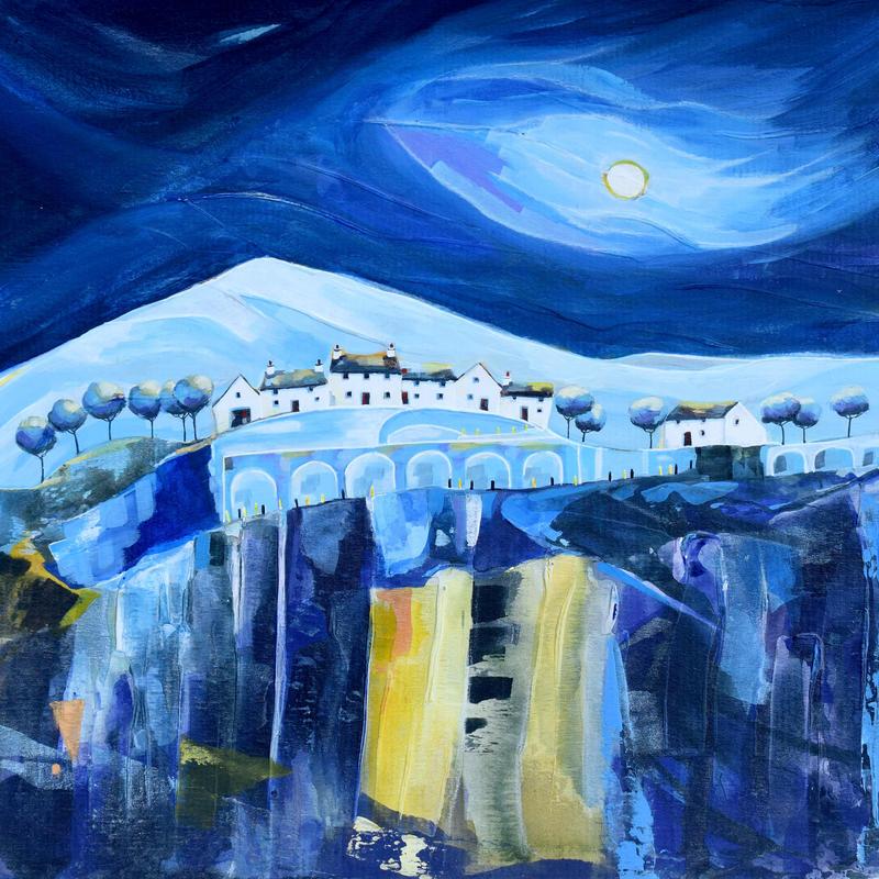 Bridge Mountain Cottages. Original Mixed Media Painting. Framed Size 53cm x 53cm. Price £495