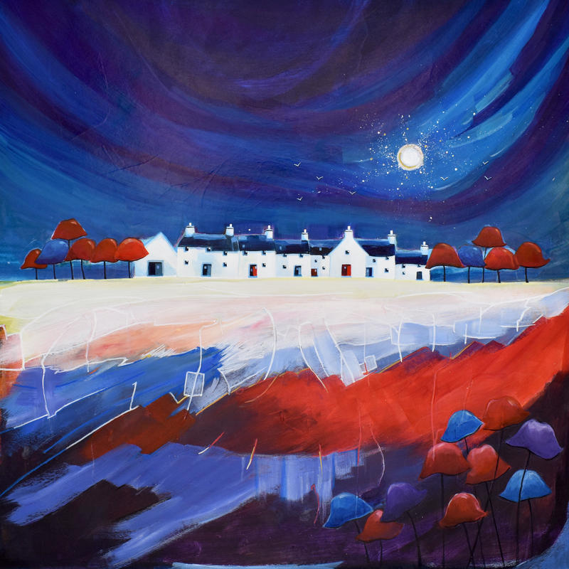 Dancing Moon Cottages 6. Original Mixed Media Painting. Framed Size 62cm x 62cm. Price £595