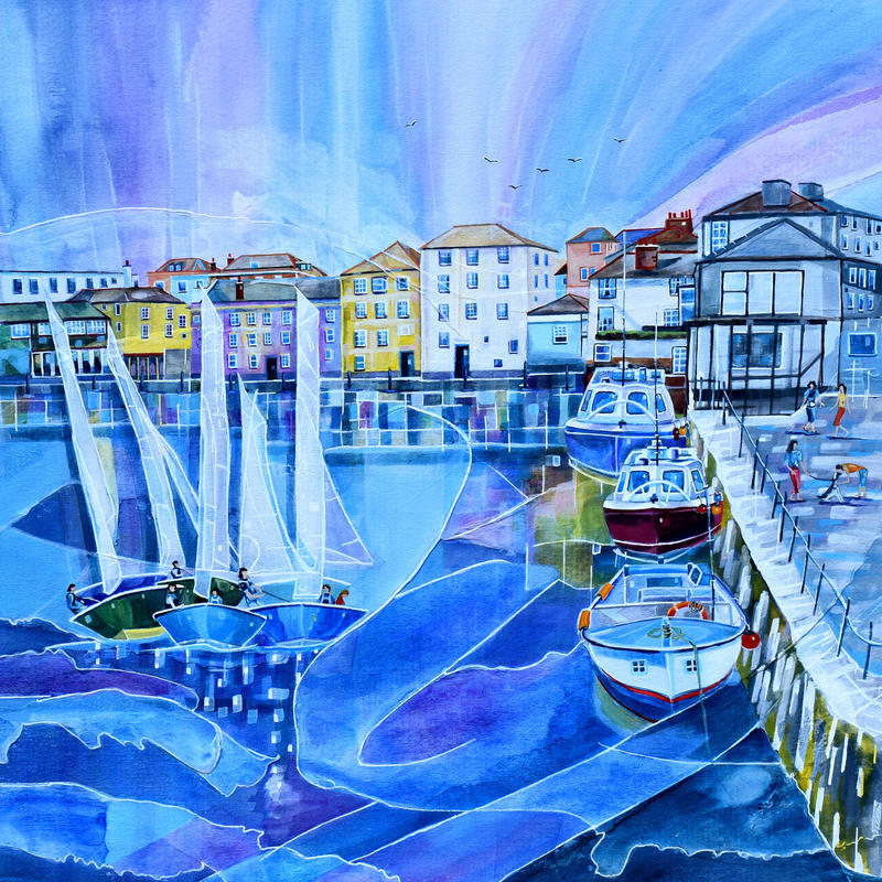 Falmouth, Cornwall. Original Mixed Media Painting. Framed Size 58cm x 58cm. Price £550