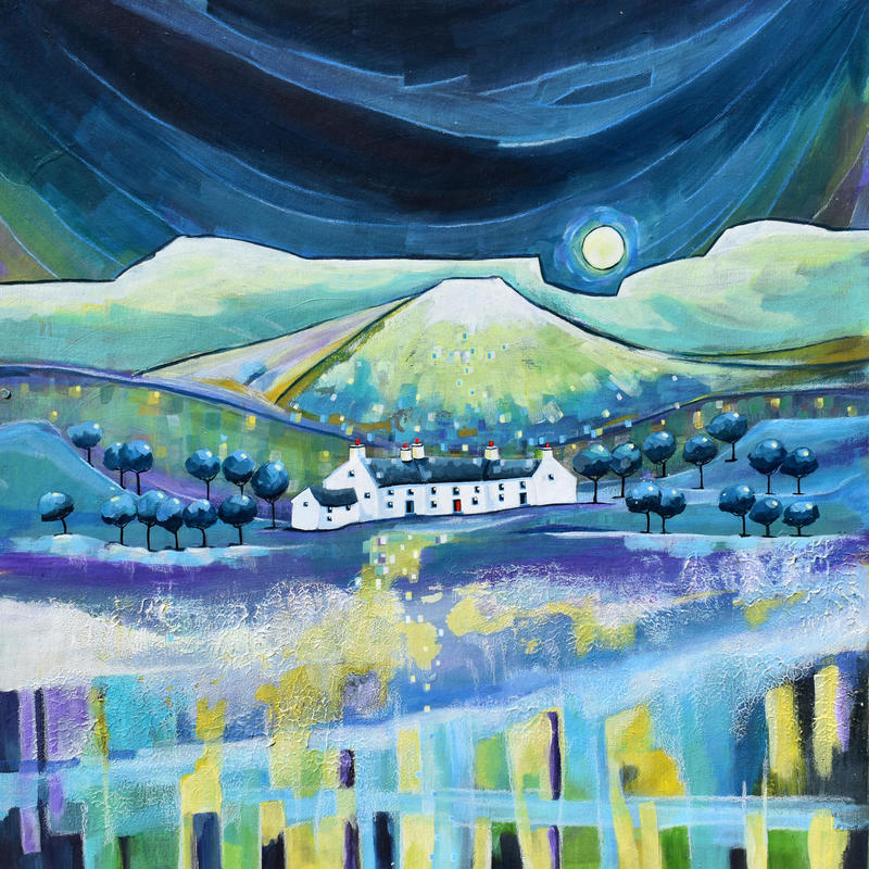 Moon Rise Mountain Cottages. Original Mixed Media Painting. Framed Size 52cm x 52cm. Price £495