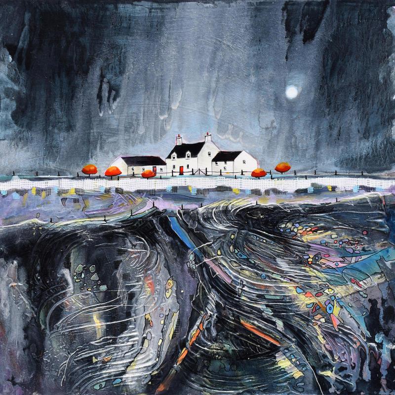 Moonlight Ridge Farm. Original Mixed Media Painting. Size 52cm x 52cm. Price £495