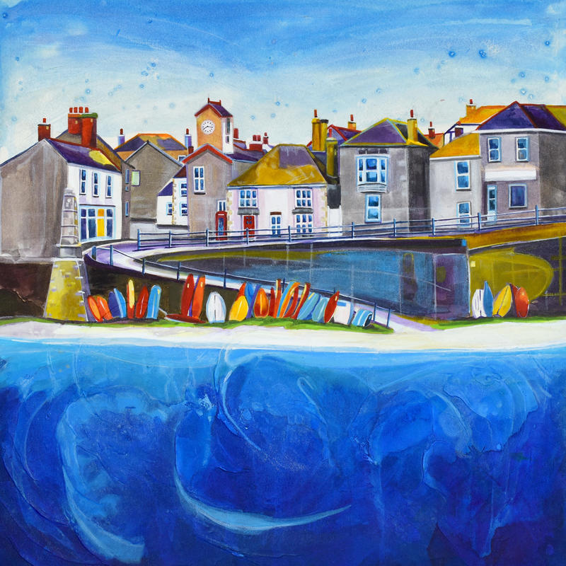 Mousehole 2, Cornwall. Original Mixed Media Painting. Framed Size 36cm x 36cm. Price £385