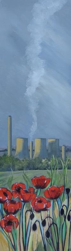 Didcot Towers Acrylic on Canvas 30x100cm