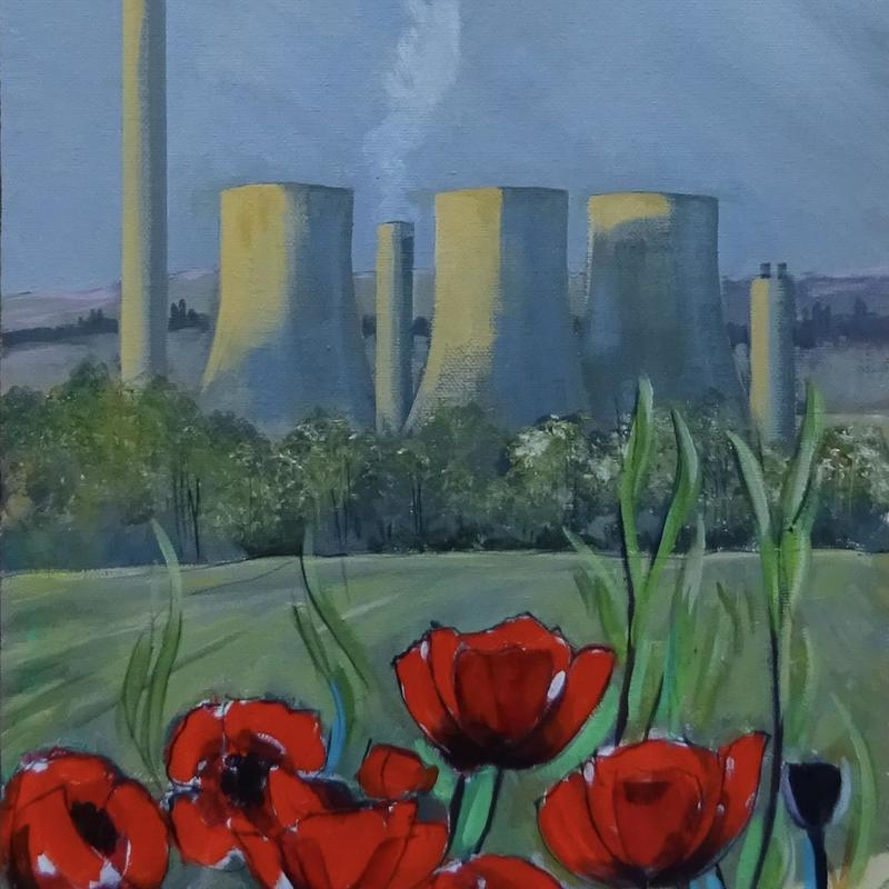 Didcot Towers, acrylic on canvas, full size 30x100cm