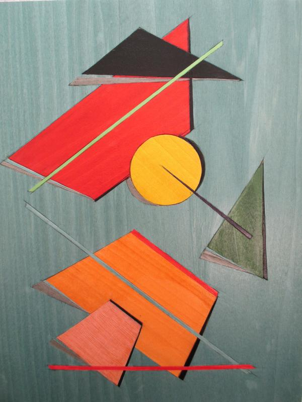 'University Graduation 1' picture, coloured veneer inlay, hght 41cm X 34cm with frame, price £400