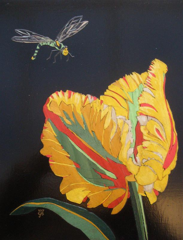 Tulip 'Flaming Parrot': inlay of coloured veneers on wood panel 32x29cm with frame