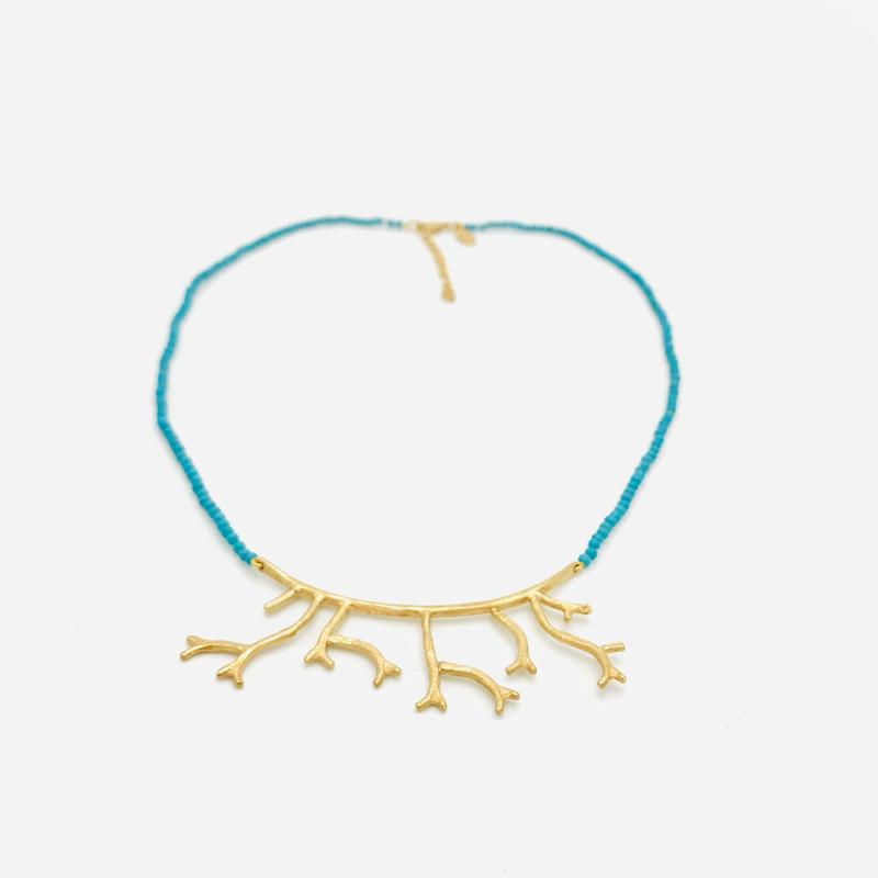 'Hazel' necklace- gold plate on silver twig design with 2mm natural turquoise beads.
