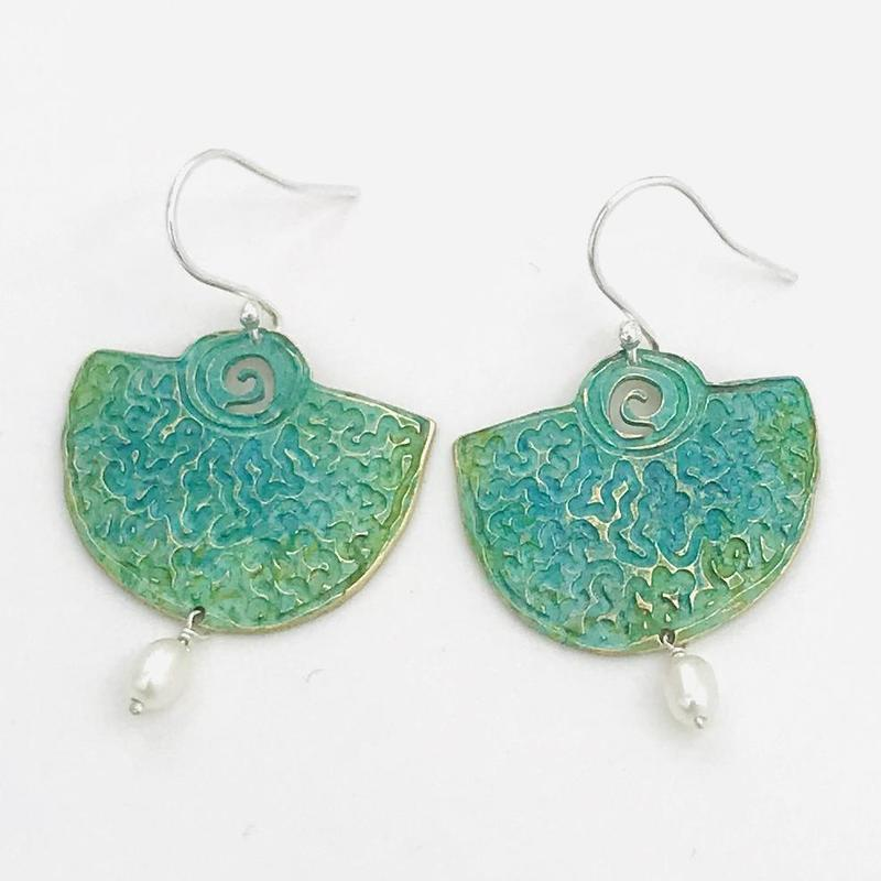 'Sun & Moon' drop earrings-shield shaped earrings with photo-etched pattern on brass & a green/blue patina.
