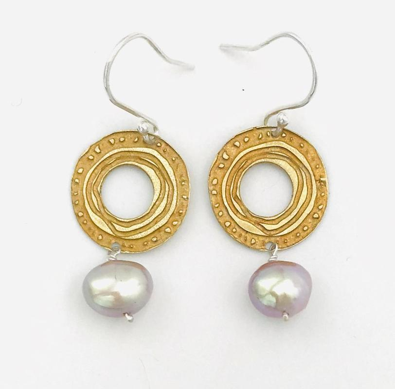 'Sun & Moon' drop earrings-celtic pattern on photo-etched brass with an antique gold patina & a fresh water pearl.