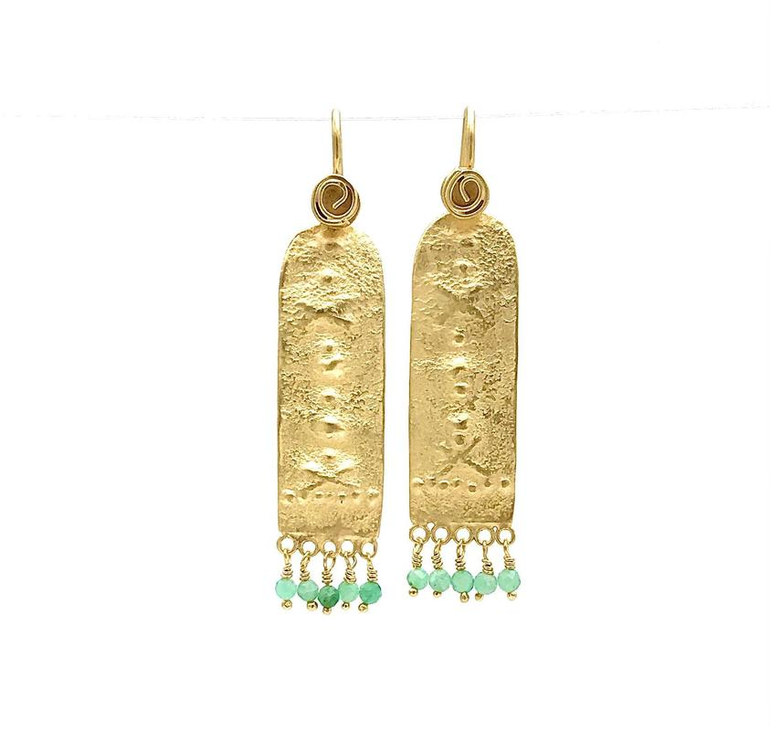 'Jaani' drop earrings-hand embossed gold plated silver with delicate emerald beads.