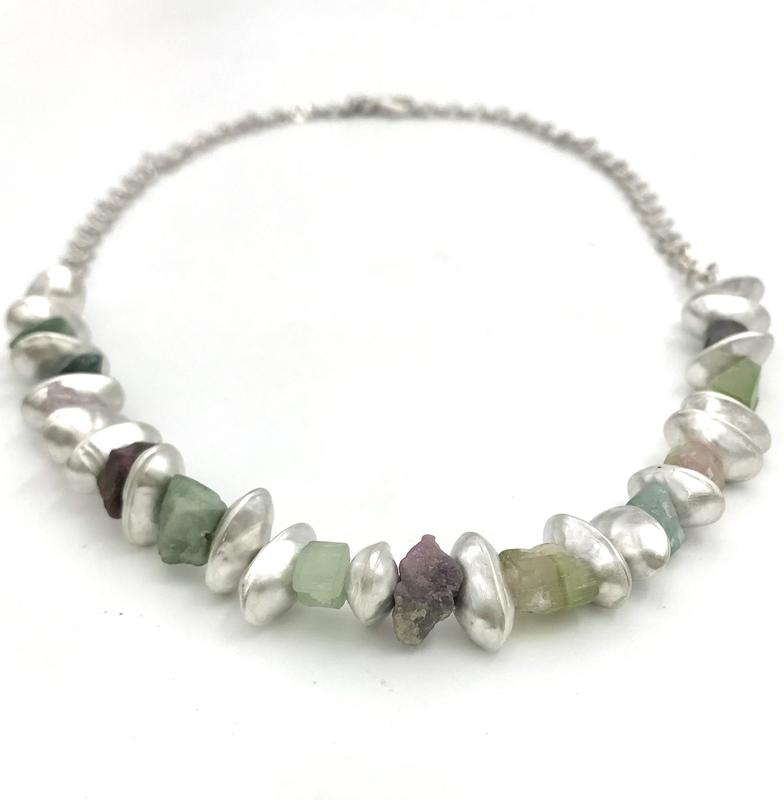 'Pod' necklace-handmade silver bean shaped pod beads, hammered chain & rough tourmaline beads.