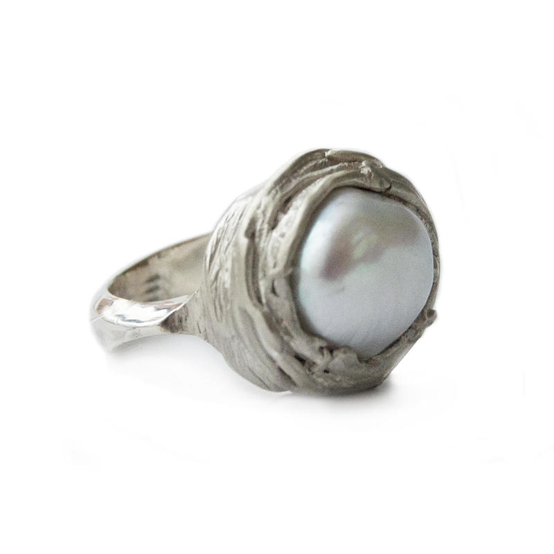 'Nest' ring-irregular shaped white fresh-water pearl in silver.