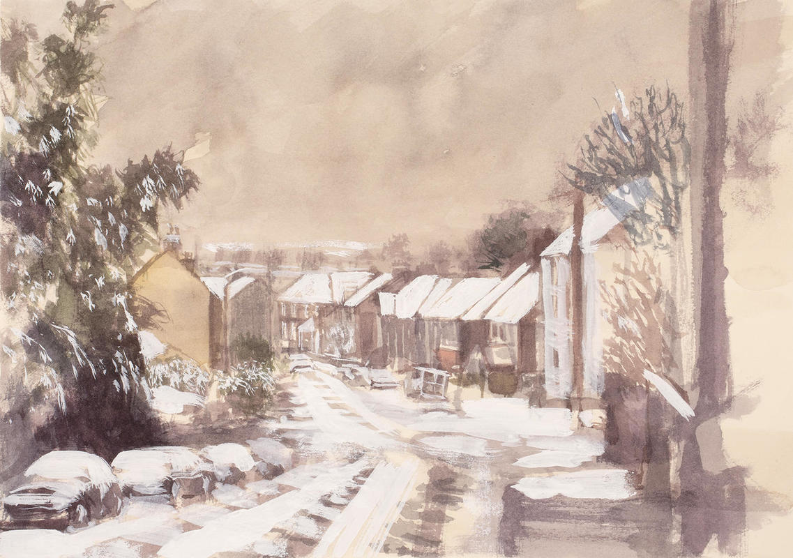 Snow on Crescent Road watercolour and gouache