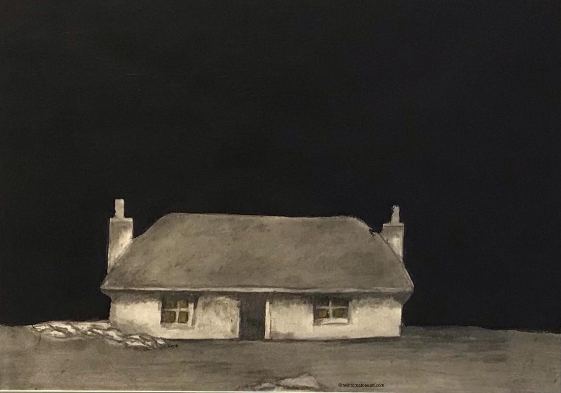 Thatched Cottage.  H22cm x W31cm. Acrylic and pencil.  Framed  £65.00