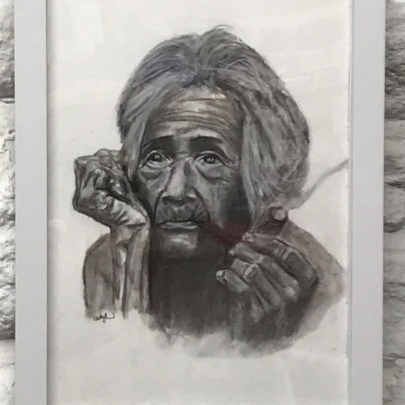 Peruvian Woman. Charcoal drawing framed. H33cm x W24cm (inc frame). £65.00