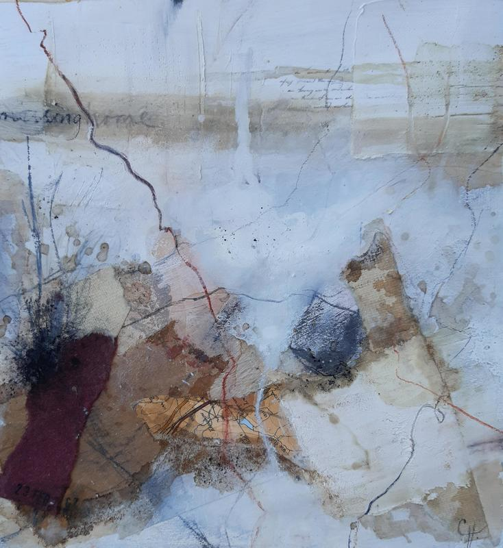 'Missing Home', mixed media on paper, 20cm x 20cm, £35