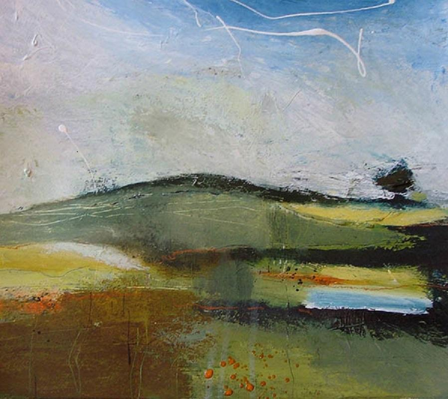 Chalk Upland   -   A sense of underland is evoked using warm brown and green strata slashed through with the blue of an underground stream. A lone tree stands sentinel above the hump of a barrow. The pale sky is interrupted with loops of dripped white paint. Semi abstract.  Acrylic on paper, 70x70cms, framed SOLD