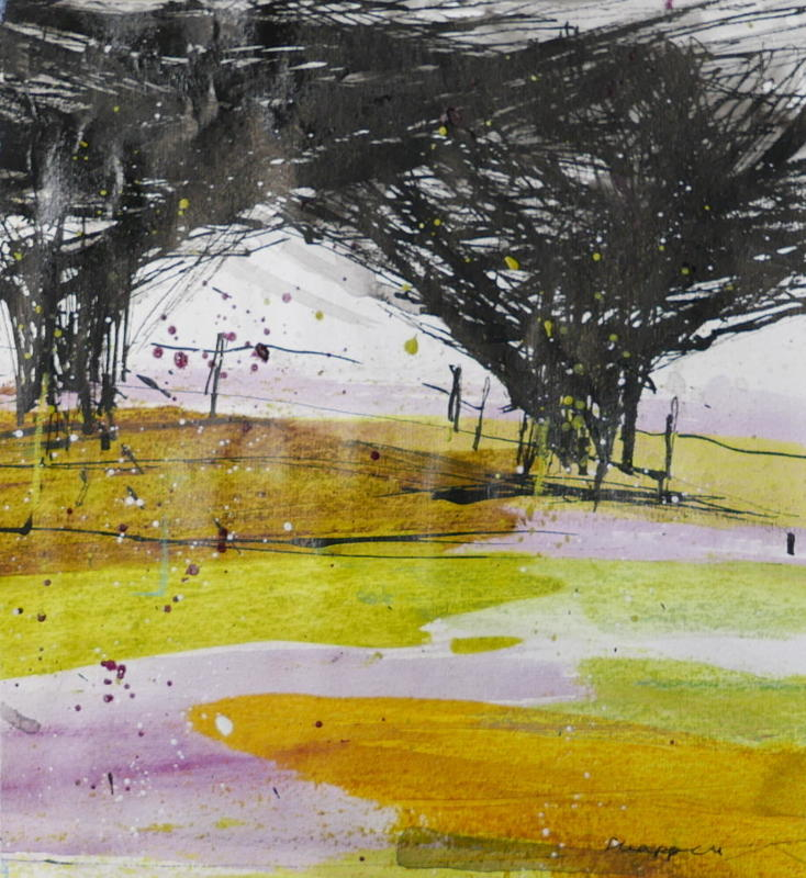 Hawthorn Hedge -   Black ink scratched into paper creates a tangle of branches. Blobs and splashes evoke movement of the trees in a ground of transparent layers of green and warm gold. Acrylic on paper, 40x40cms framed £450