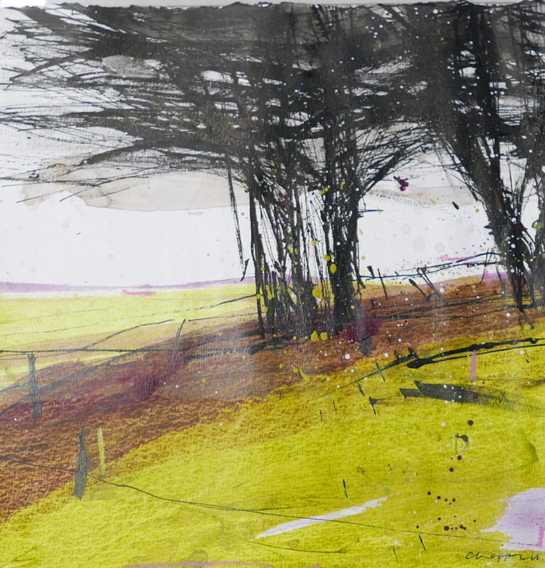 Hawthorns   -  Black ink scratched and splashed onto paper overlooking a landscape of transparent delicate green. Acrylic on paper, 40x40cms framed £450