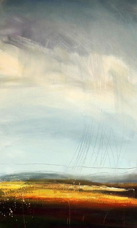 High Ground 1    -  A high grey sky scored through with slashes to suggest rain falling onto a yellow golden brown landscape. Semi abstract, acrylic on canvas, 80x50cms, unframed £695