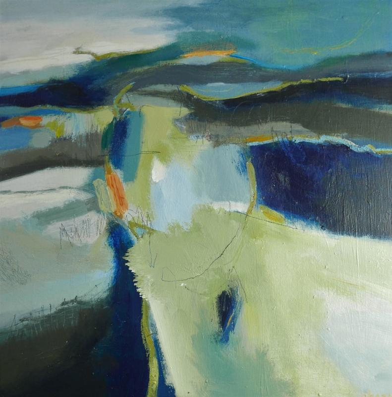 Homeland -     Warm blues greys and greens arrange themselves to suggest field patterns, footpaths and ancient barrows. Semi abstract, acrylic on board, 50x50cms framed £525  SOLD