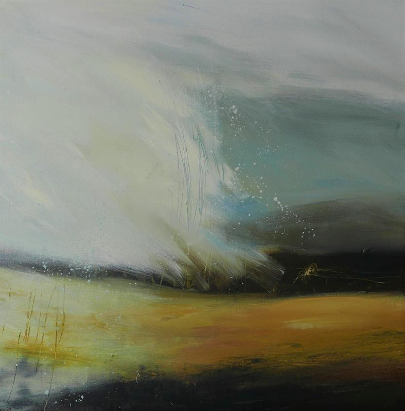 Looking West  -  A big sky of grey and cream sweeps and splashes above a yellow/brown dark earth. Abstract. 76x76cms, acrylic on canvas  unframed £850