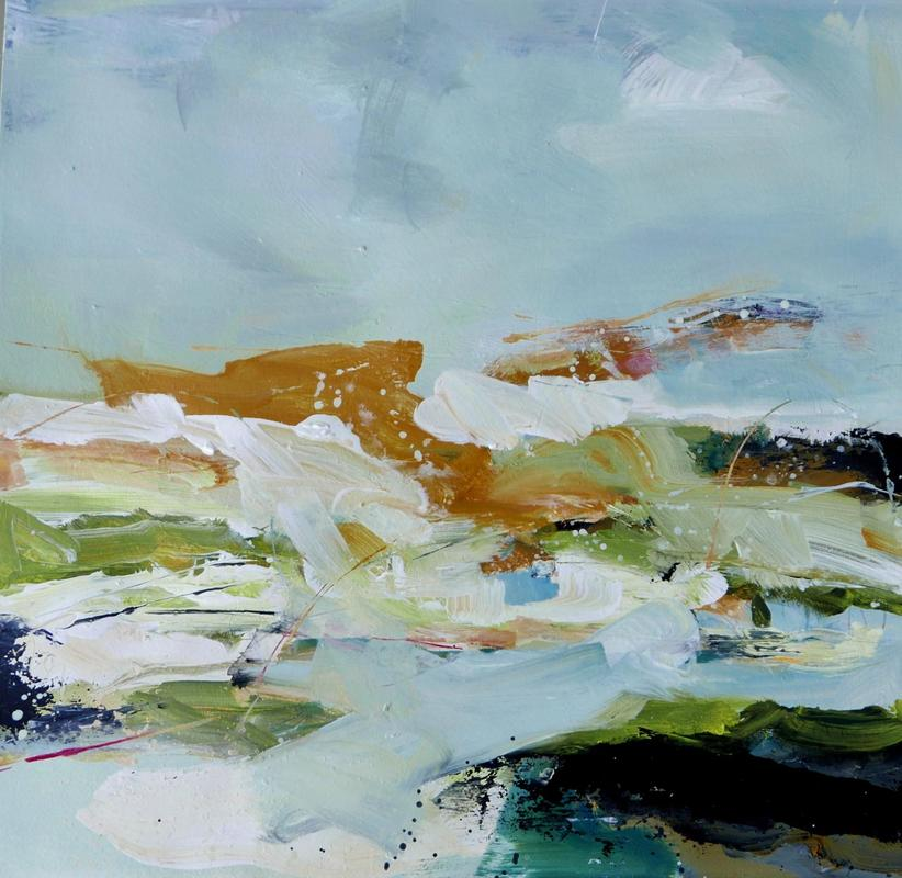 Peat & Moss -     Splashes of ochre and green mix with black and blue smears to suggest the dampness of mossy pools. Abstract, acrylic on paper, 68x69cms, framed £595