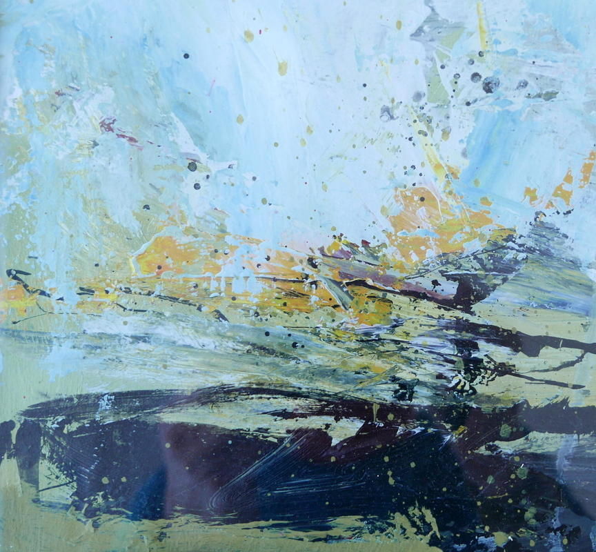 Spring Beck -    Blobs and splashes of thick paint suggest the sounds and movement of water over pebbles. Abstract, acrylic on paper 45x45cms framed £395