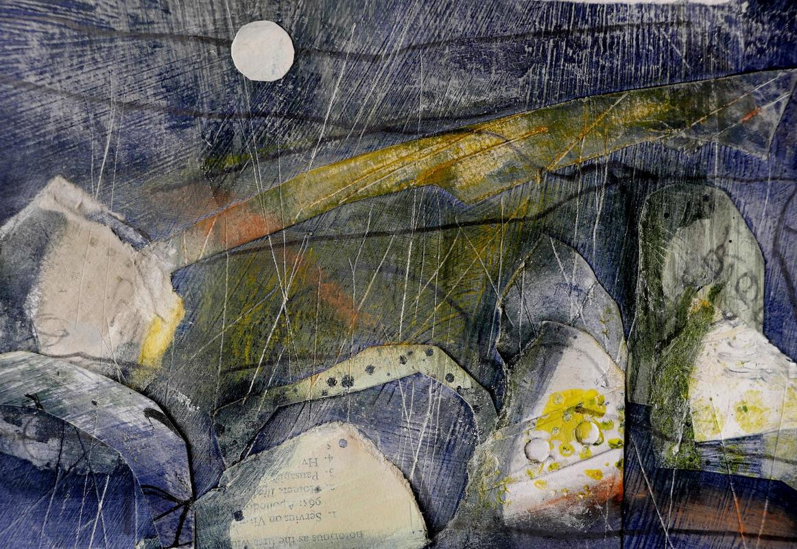 Stone Dreaming   -    Dark grey and cream paint evoke a moonlit landscape dotted with encrusted stones and slashed with cut lines of footpaths and tracks. Acrylic, collage, mixed media, 33x29cms framed £220