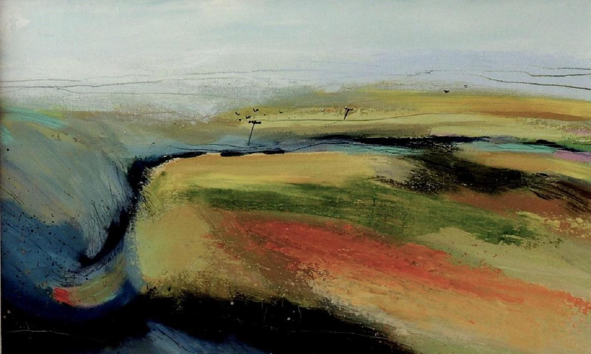 Top Road   -  A landscape viewed from above. A thin line snakes through summer uplands and rock crevasses suggested by blues greys and greens. Tiny telegraph poles appear in the far distance. Semi abstract, acrylic on canvas, 80x55cm framed £525