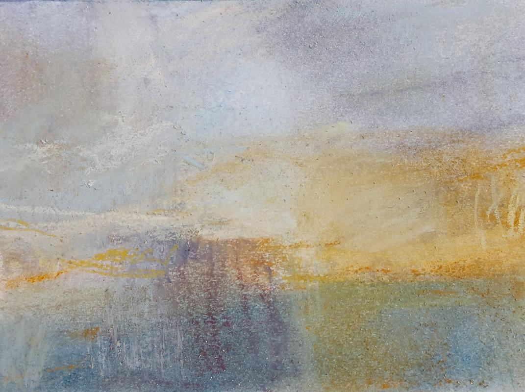 'Edge of memory i' mixed media on paper 11x16cm SOLD