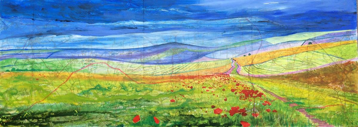 The Ridgeway . Acrylic  on stretched Ridgeway map