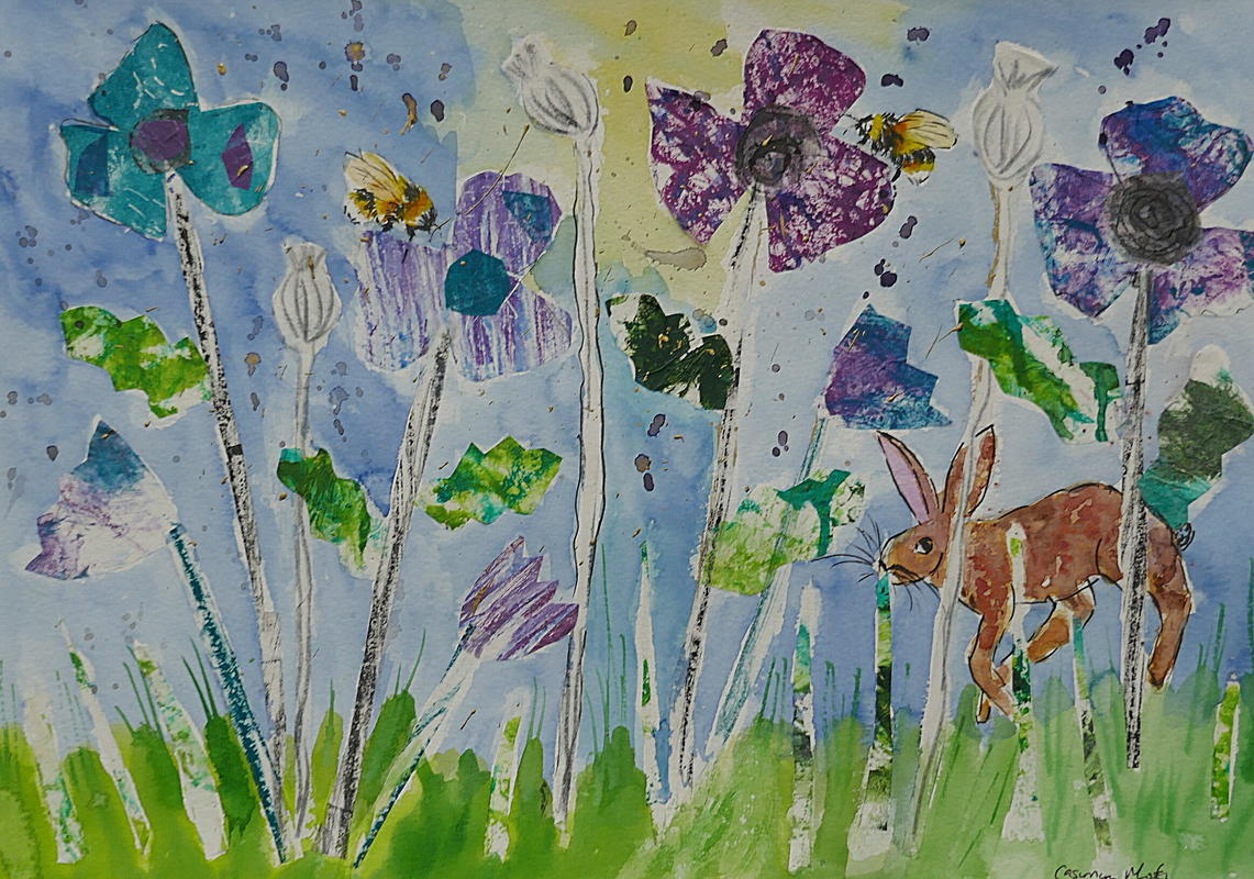 Collage Blue and Purple Poppies
