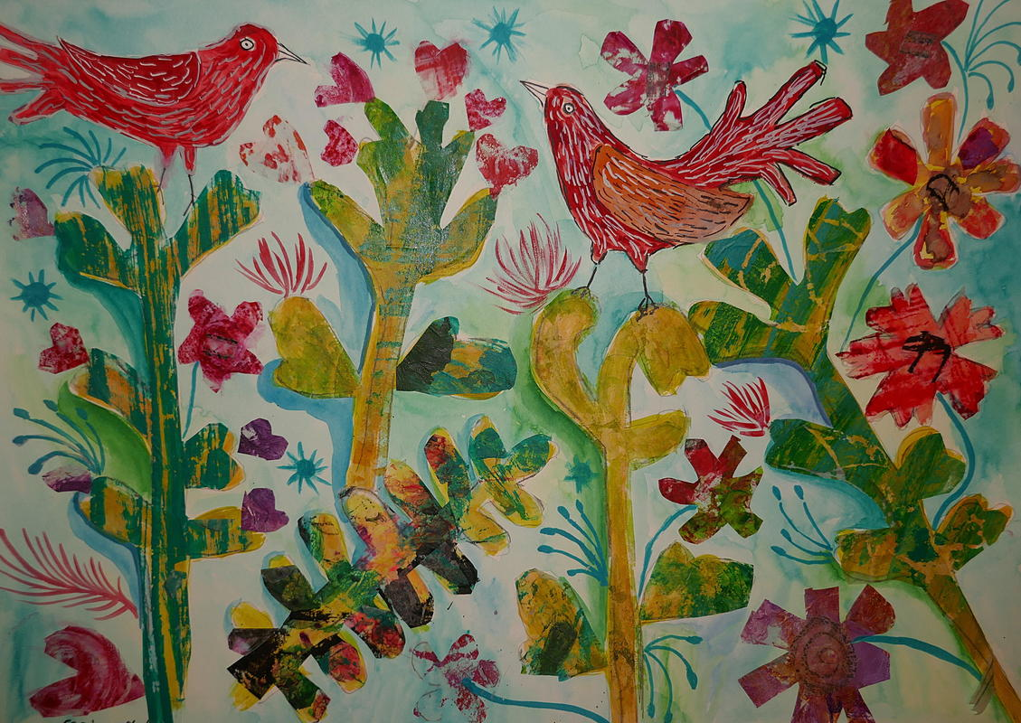 Red Birds on Cactus Plants, Collage