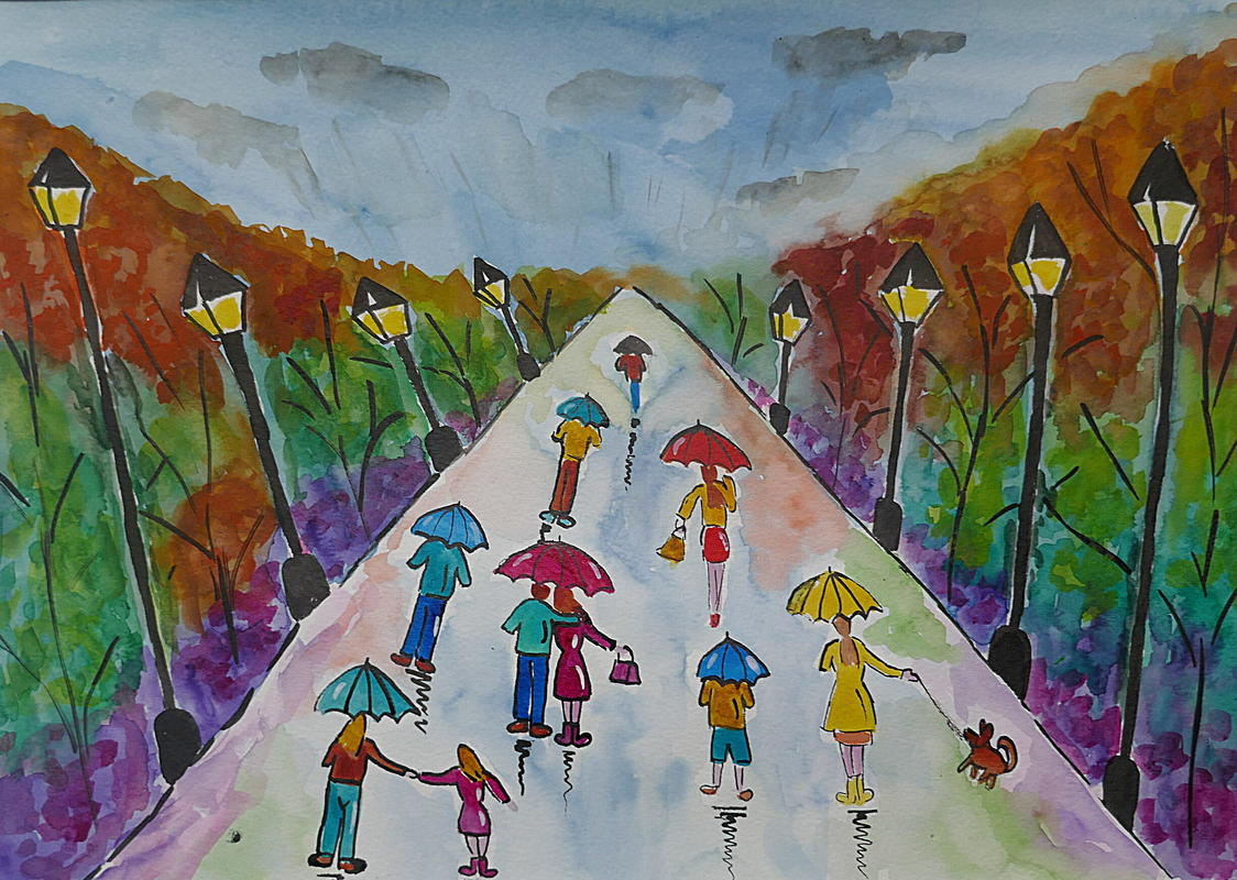 Colourful Umbrella Painting in Woods