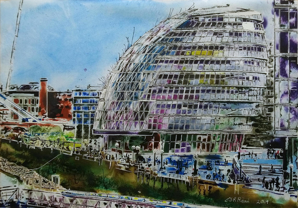 Painting of South Bank of the Thames with London's City Hall