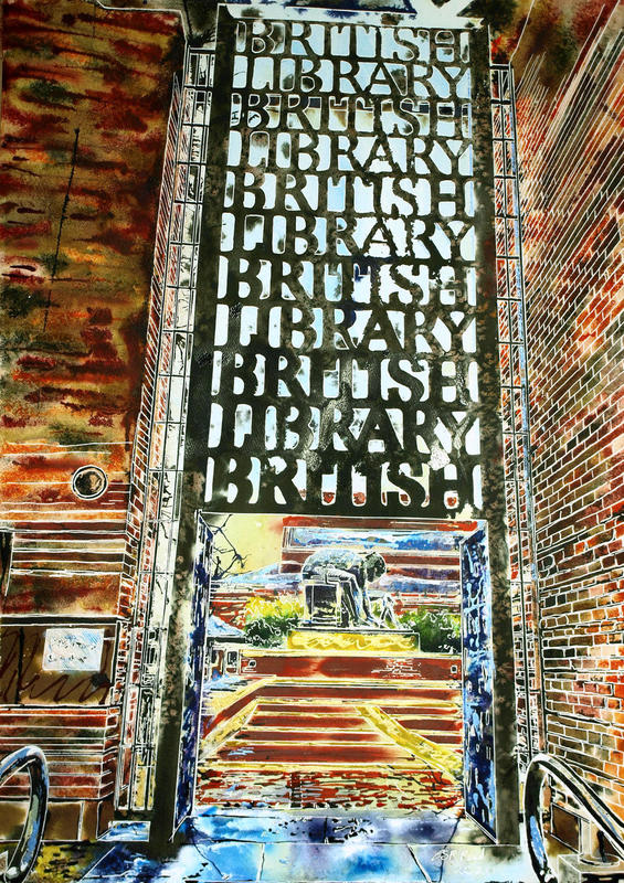 Painting of Entrance to the British Library, London