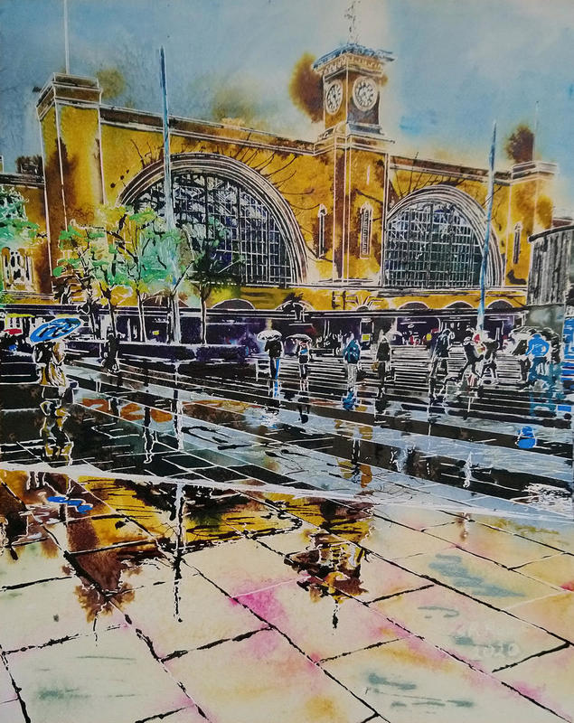 Painting of Kings Cross Concourse in the rain