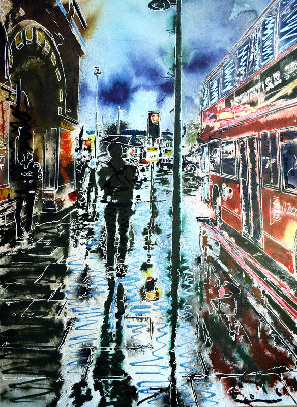 Painting of People walking past St Pancras station in the rain with a red bus alongside