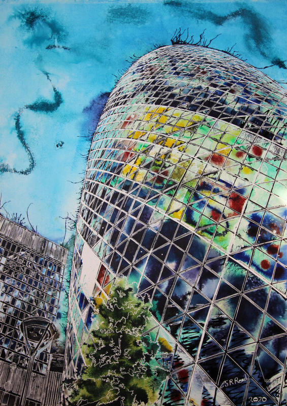 Painting of Gherkin Building in multi colour
