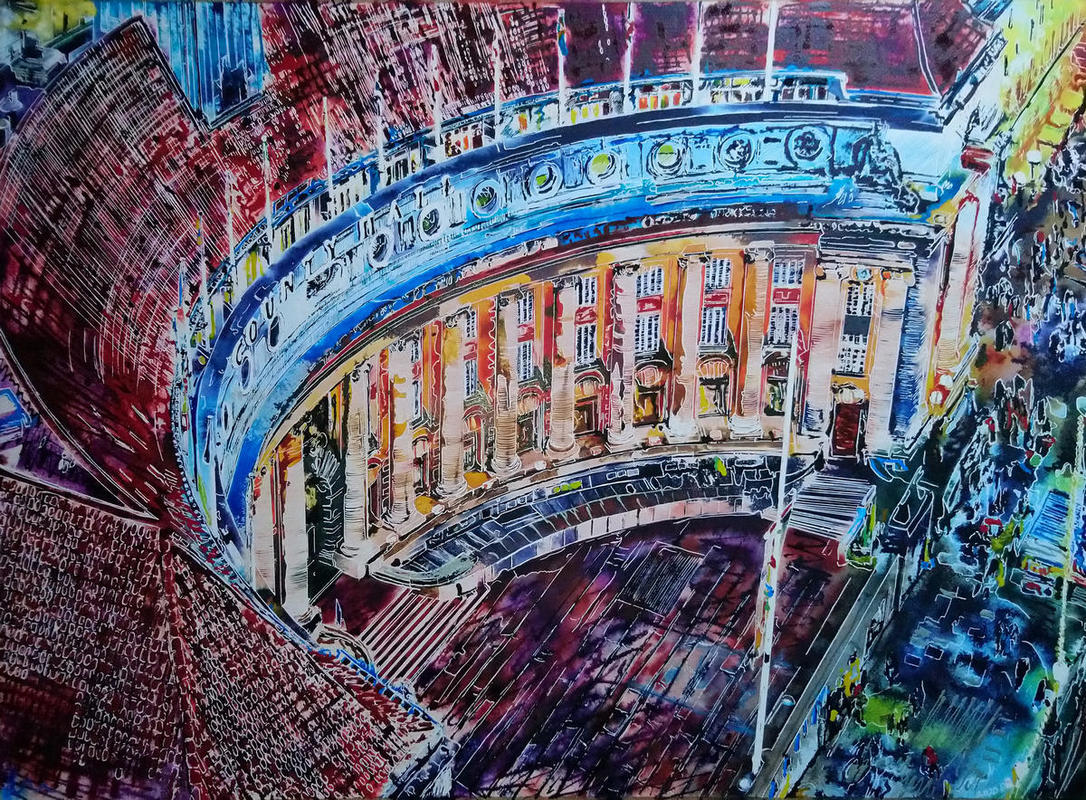 Painting of View of County Hall from the London Eye
