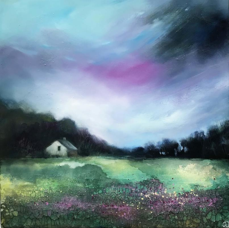 April Skies, £225, Mixed Media on Deep Canvas, Framed size=55x55