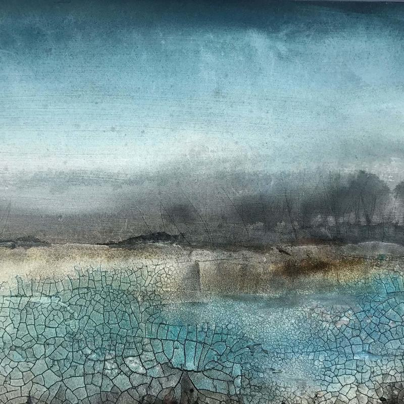 Distant Trees, £190, Mixed Media on board, Framed size=47x37cm