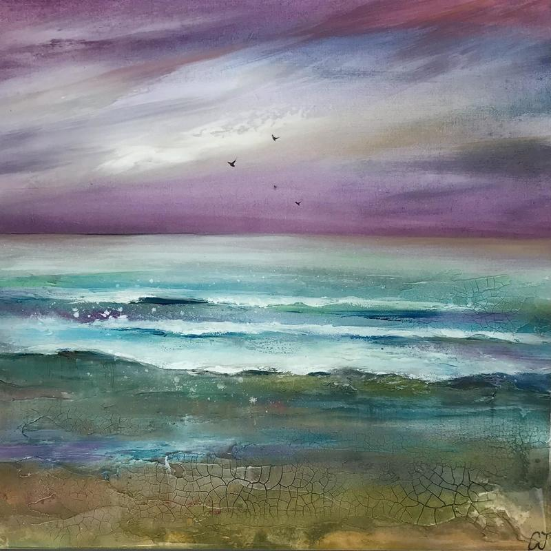 Lapping Waves, £180, Mixed Media on panel, Framed size 33x33x3.5cm