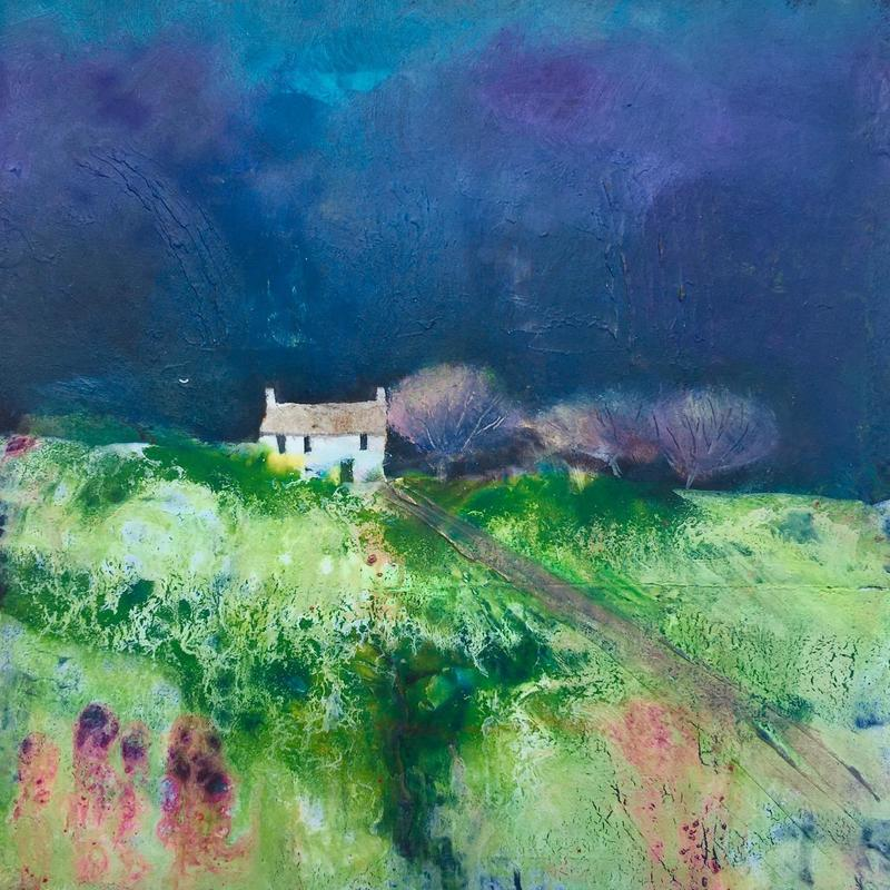 Midnight Farmhouse, £139, Acrylic & Oil on board, Framed size=43x43cm