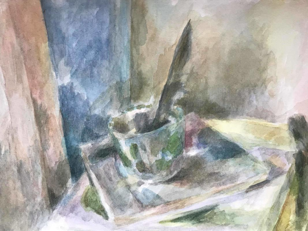 Cup feather books Watercolour